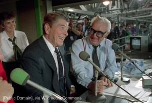 Harry Caray with Ronald Reagan at Wrigley Field